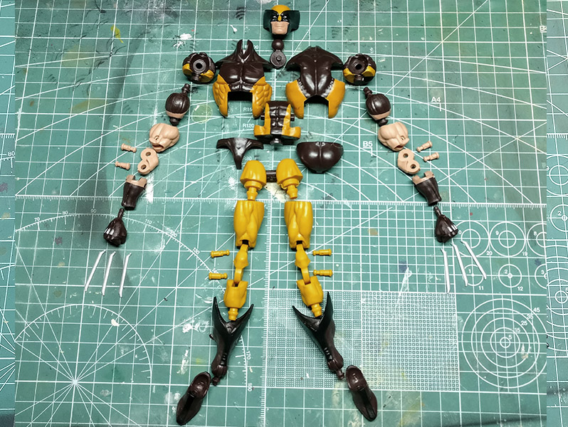Articulated figure disassembled into many pieces